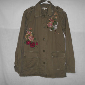 Maurices Green Floral Embroidered Shirt Jacket